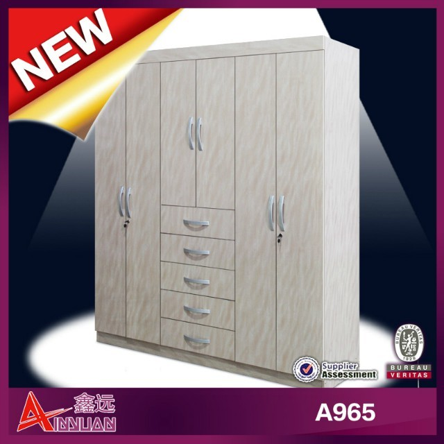 Modern 6 doors 5 drawers bedroom Cupboard wall unit for flat