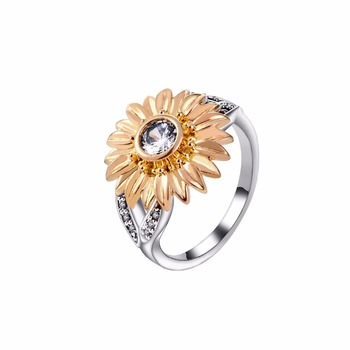RI00086 Yiwu WT personalized simple golden plant sunflower, zircon wedding ring jewelry wholesale