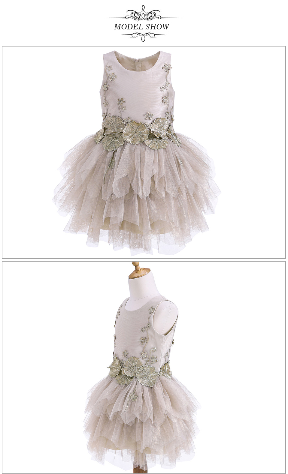 Fashion Classical Ballet Tutu Dress Knee-Length Applique Sleeveless Baby Girl Party Dress