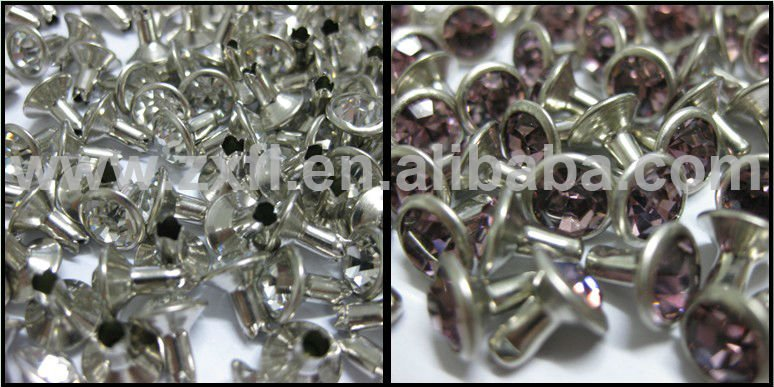 Silver Strass Crystal Rhinestone Rivet for Shoes Closed End