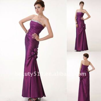 A-Line Princess Floor Length Prom Dress with Beading taffeta strapless evening dress AS073
