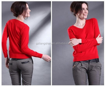 Ladies fashion designs of woolen sweater winter warm pullover V neck red jumper knitted designs of woolen sweater