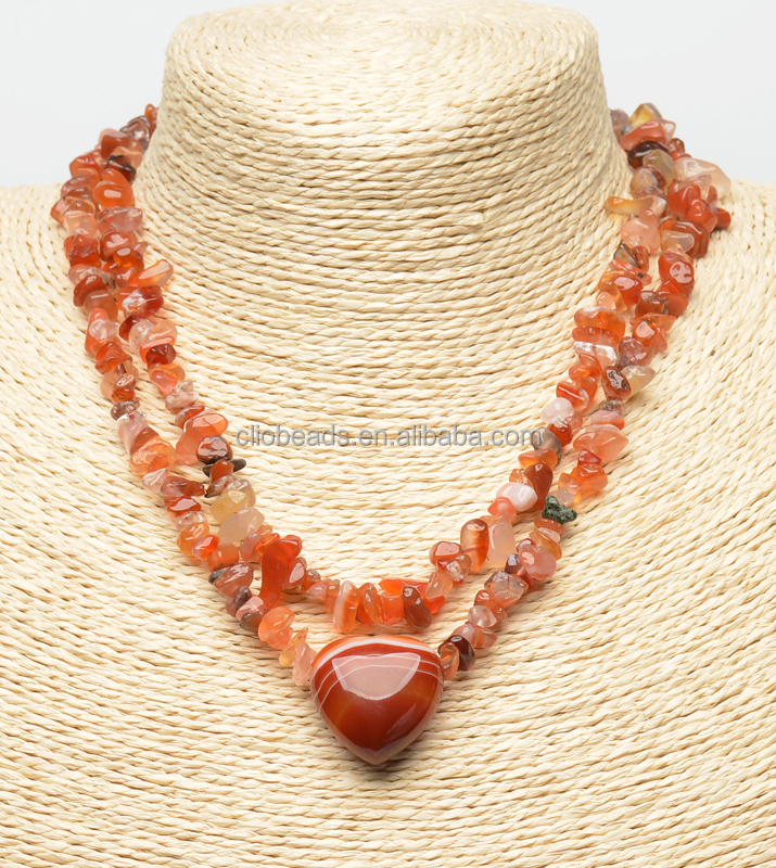 Double Row Layered Tiger Eye Chips and Heart Pendant Necklace, Stainless Steel Lobster Clasp with 2 Inches Tail Chain