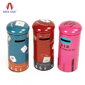 Beautiful metal piggy coin bank round tin money saving box with slot