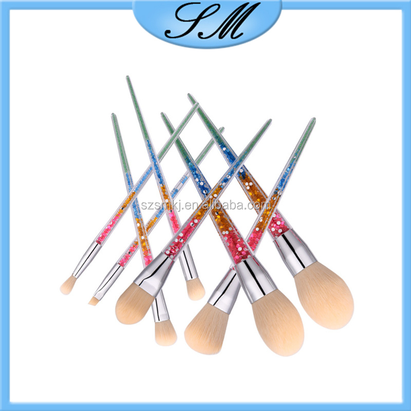 rhinestone makeup brush set 8pcs make-up brush shining cosmetic brush set