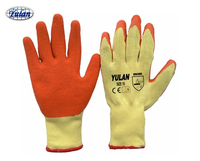 DLC601 safe cotton knitted latex coated working gloves,protective gloves