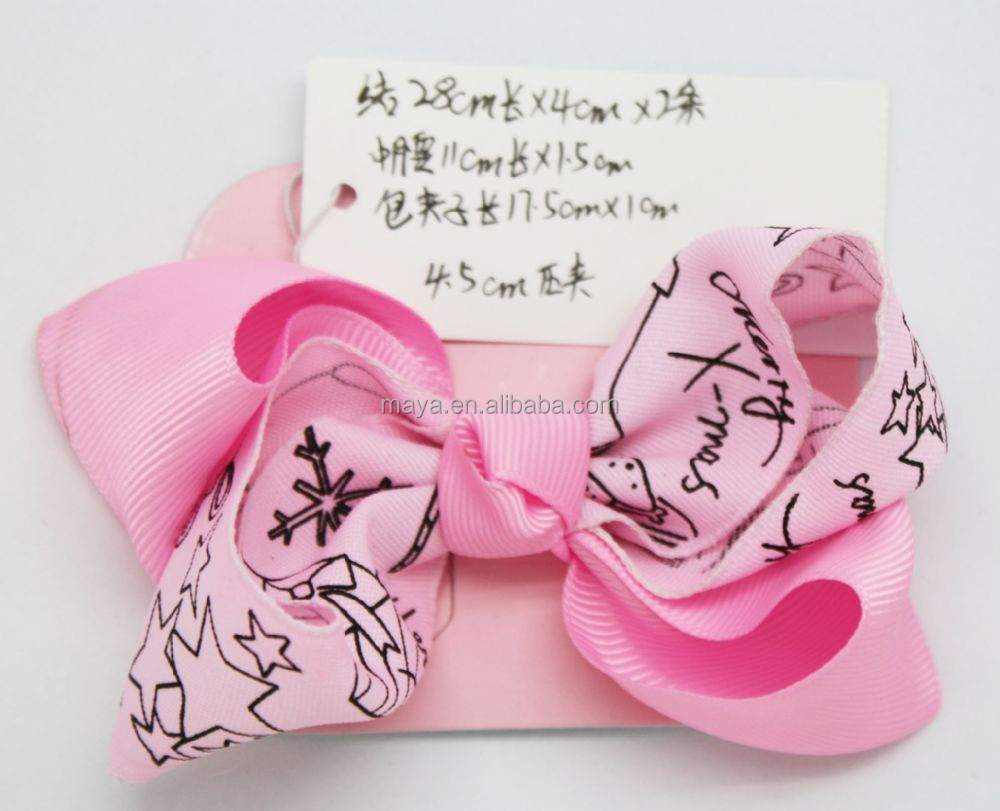 Factory Wholesale Pink 1PK Hair Bow for Girl,Letter Printed Grosgrain Ribbon Bows Baby Headwear (approved by BV)