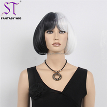 Fantasywig Factory Wholesale Half Black Half White Wigs Halloween Short Bob Hair Cosplay Wigs For Women