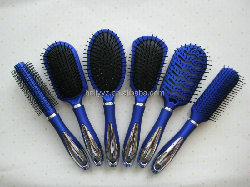 Hot sale professional blue plastic bristle hair brush