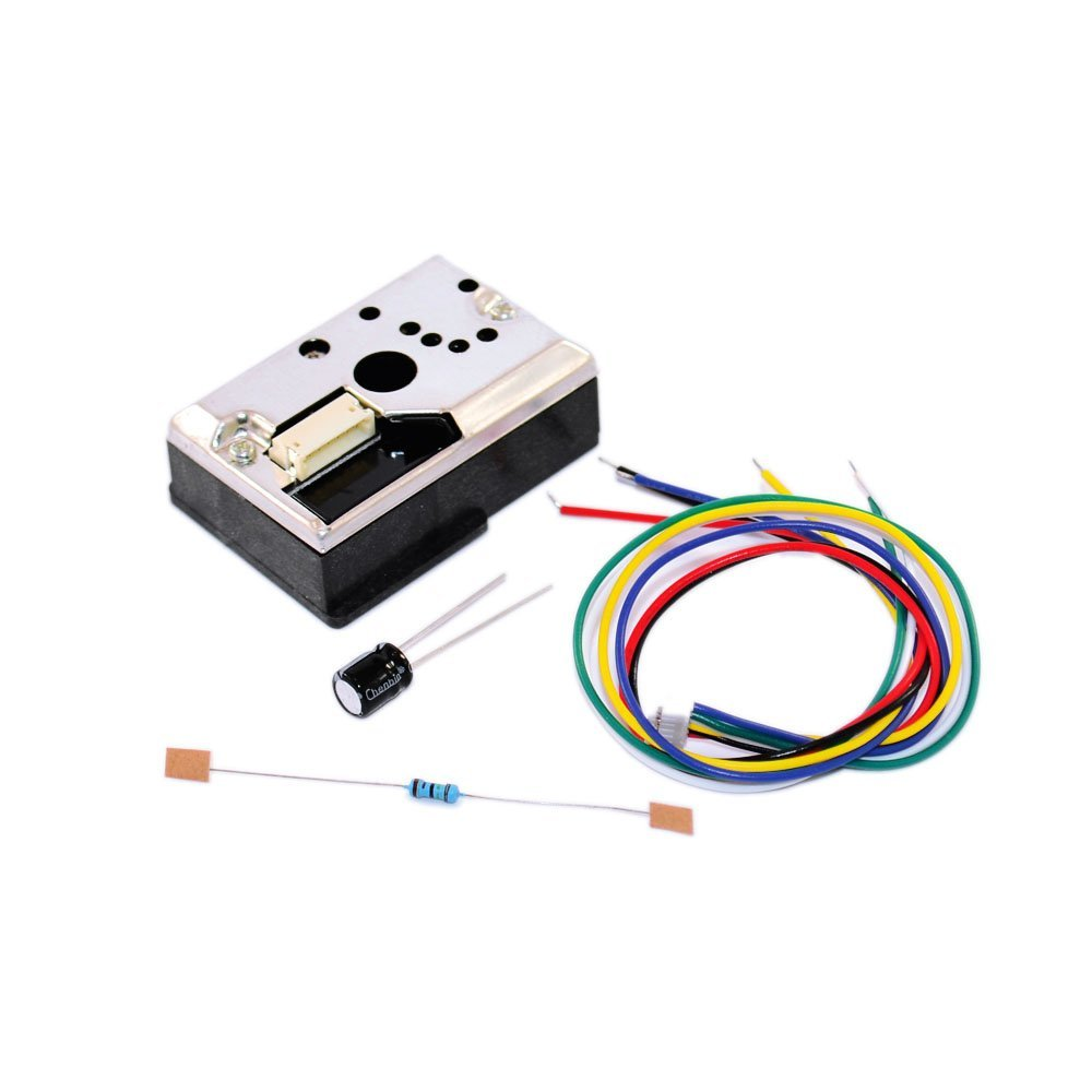 GP2Y1010AU0F Compact Optical Dust Sensor Smoke Particle Sensor, PM2.5 Air Quality Testing (With Cable, Resistor, Capacitor)