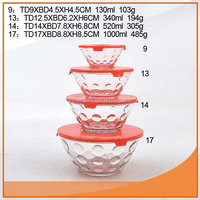 Different sizes glass bowl set with embossed bubble for Europe market
