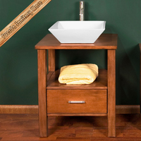 FED-1835 unique wood top with vessel ceramic sink sale bathroom vanity