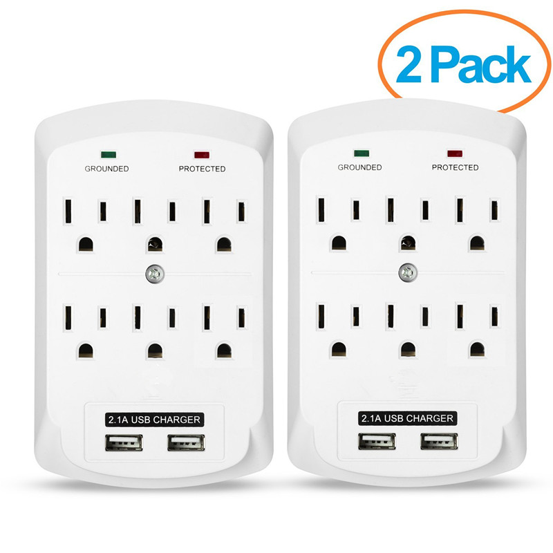 6 Outlet international wall socket with usb and LED Protection Lights,ETL listed