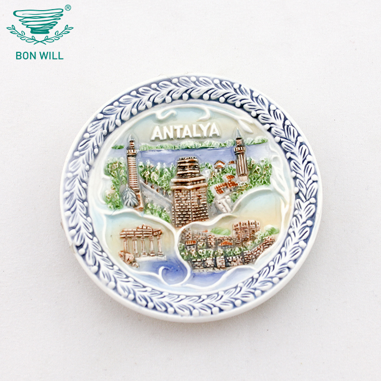 Home table decor multicolor printed Antalya country ceramic souvenir plate