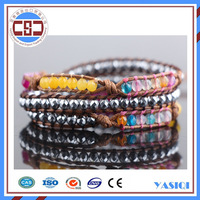 Alibaba Bohe style fashion yellow jade and crystal wrap bracelet