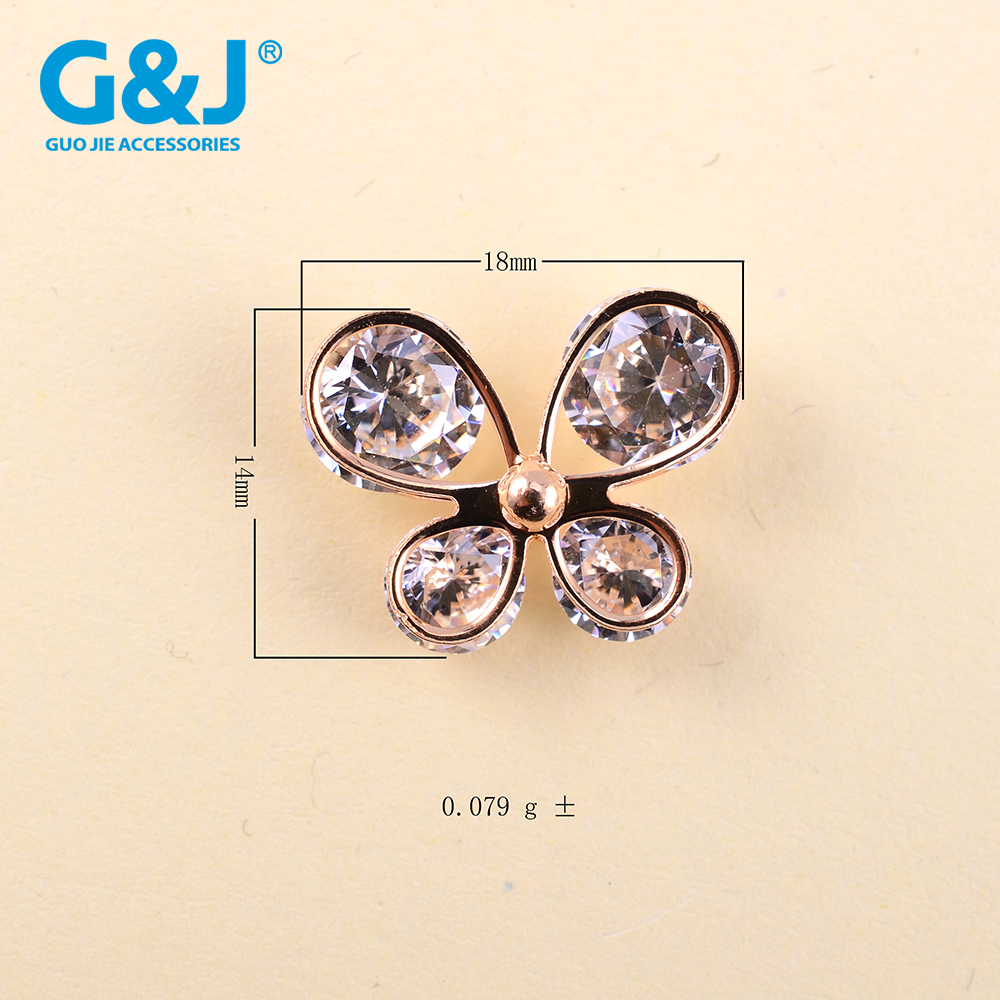 fashion new arrival shining rhinestone decorative shoe bows and buckles for women shoe clips