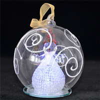 New design hanging christmas ornament, decoration, gift, 10cm glass covered open arm santa claus snowan, color change LED lights
