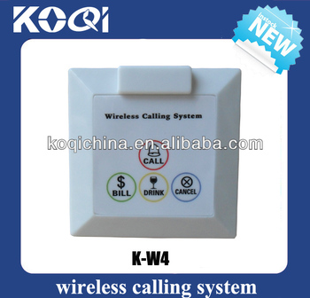 Wireless attendant caller button K-W4 to Call to Mesero wall service bell