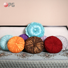 Europe Popular Colorful Decorative Slubbed Fabric/Imitated silk Round Pumpkin Cushion for Home Sofa