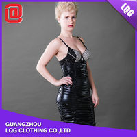 Black PU leather rhinestone decorated sexy party women dresses