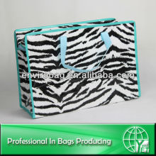 Fashion Zebra 100% Recycled Material Rectangle PP Woven Zipper Shopping Bag