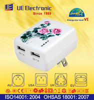 Multi UL CE PSE SAA KC universal with changeable AC plug USB charger Energy Star Level VI