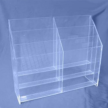 3 tier 6 pockets 3mm clear acrylic brochure book holder stationery holder