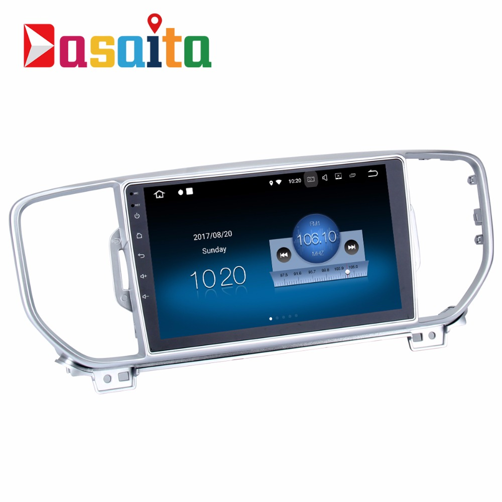 Dasaita 9 inchi Android 7.1 car multimedia system touch screen dvd gps for kia sportage 2015 2016 with 2+16GB