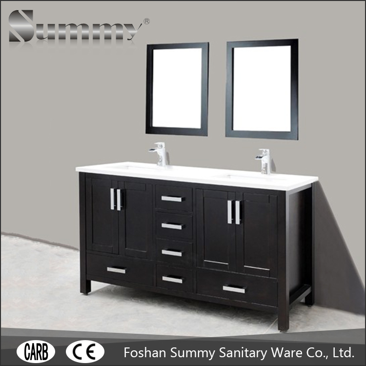 american style solid surface bathroom vanity with cultured marble top and double sink SV-15182