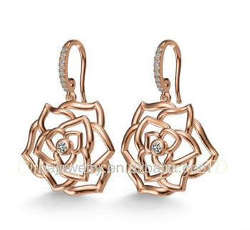 moden women shiny 925 silver flower earrings with AAA CZ
