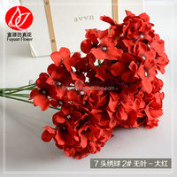 140520 Factory best sell hortensias blancas flores cortadas hydrangea red artificial flower bouquets