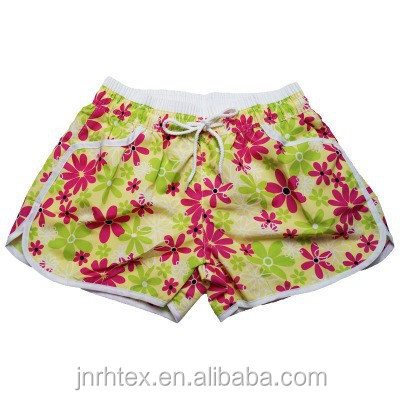 100 cotton custom printed women beach shorts