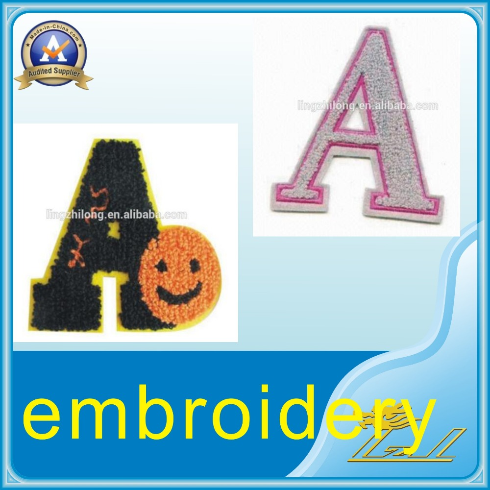 Custom cheap price clothing patch letter hand embroidery for Embroidery prices per letter