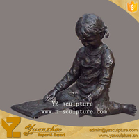 Outdoor brass statue sitting reading book girl sculpture for decoration