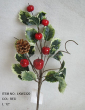 "cheap high quality artificial holly leaf and diy foam red berry pick 12"" branches pick decoration in christmas"
