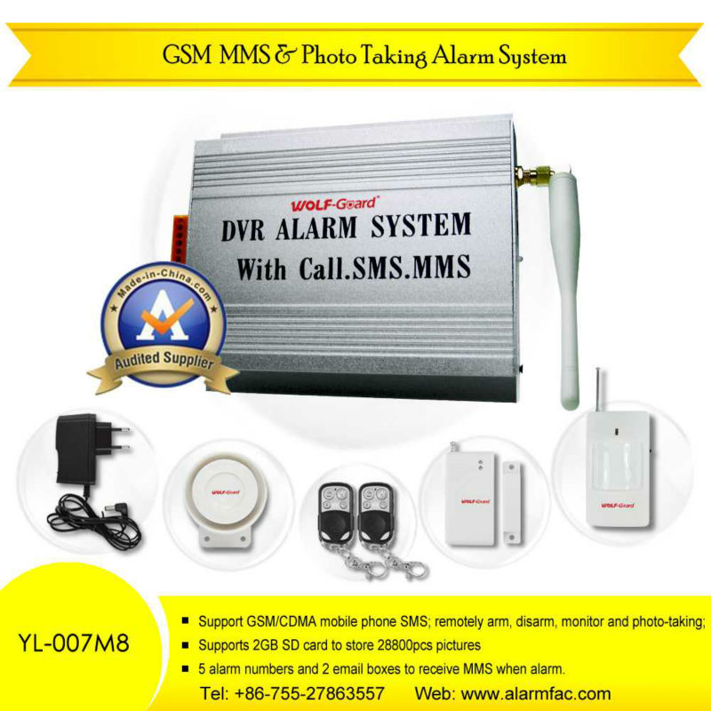 Wolfguard GSM MMS Home Security burglar alarm system With Photo-Taking & Listen-in (YL-007M8)