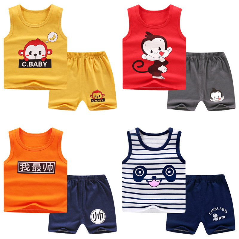 Baby Boy Girl Clothes Print Summer Cotton T-shirt Or Sleeveless Outfits Set Tops and Short Pants