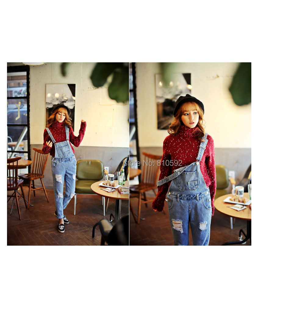 2015 Women Jeans Ripped Jeans For Women Denim Jardineira Jeans Feminina Plus Size Women Jumpsuits And Rompers Denim Bib Overalls