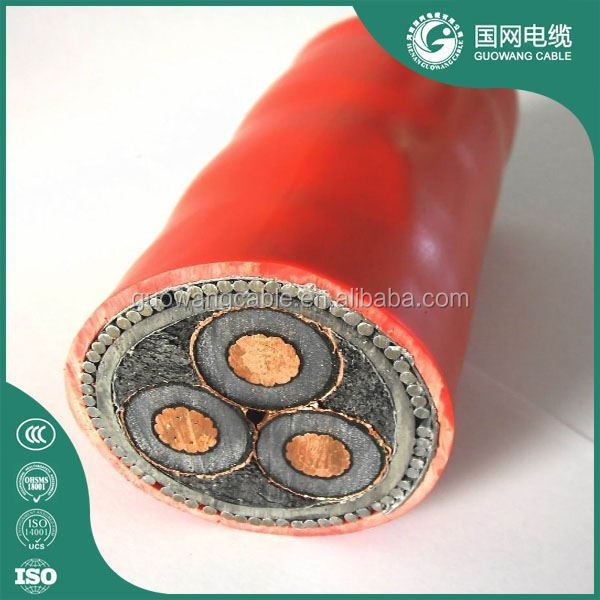 XLPE INsulated 15kv Three Core Armoured 185 Sq Mm Underground Copper Power Cable