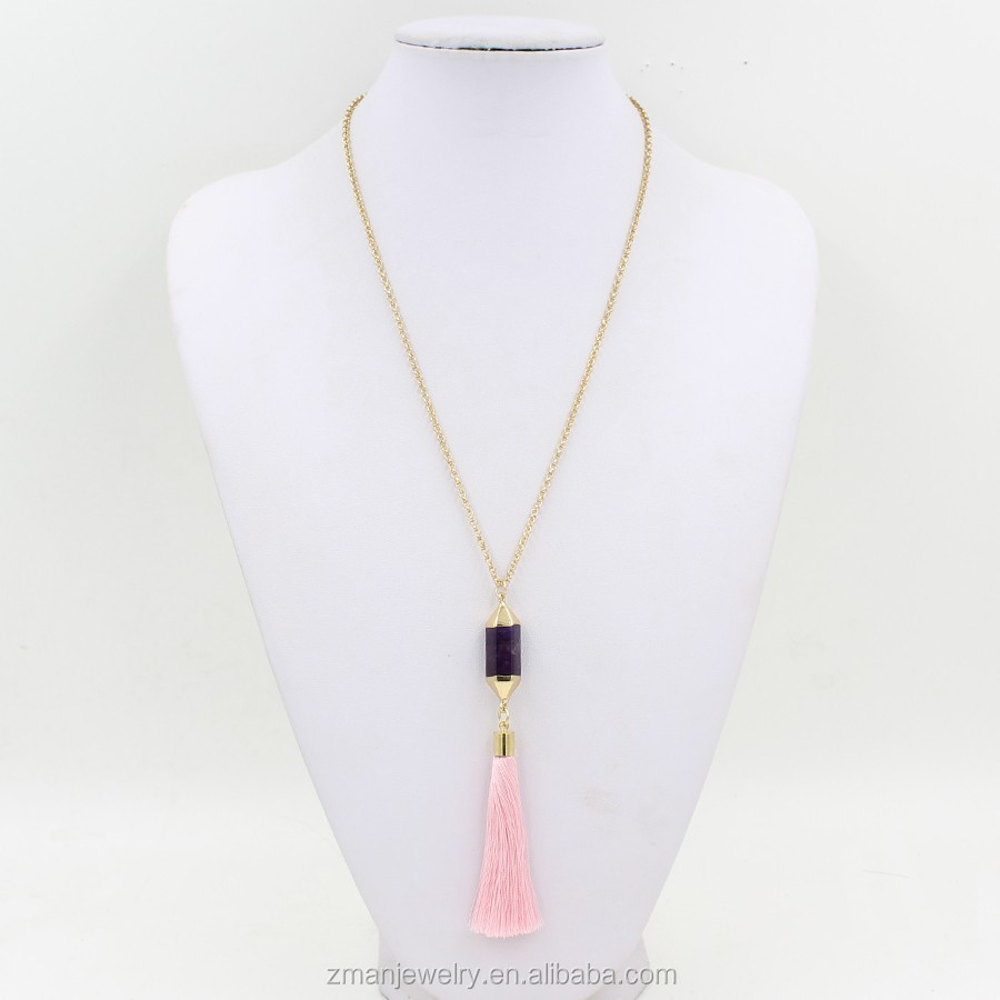 Purple Natural Stone Pendant Necklace Fashion Tassel Necklace Fashion Jewelry 2017
