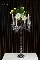 Crystal handmade fancy classic candelabra /glass flower candle stand for wedding decoration