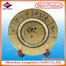 Soft Enamel And Stamping Wholesale Plate Plaque/Souvenir Metal Plate/Metal Shield Trophy with Gymnastics Show For Sports