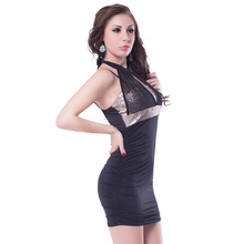 Best design clubwear black mesh halter dress elegant bodycon dress women