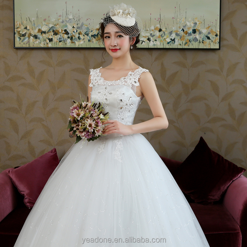 China Supplier Wholesale Sleeveless O-Neck White Lace Appliqued Wedding Dresses