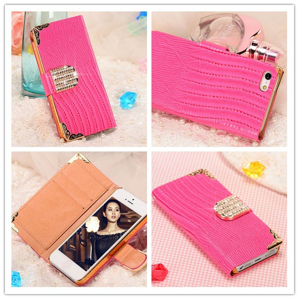 Luxury Diamond Pu Leather Crocodile Flip Cover For Apple iPhone 5S 5G Fashion Cell Phone Wallet Case For iPhone5S 5G,New Arriva