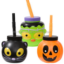 plastic halloween character sipper cups with straw,pumpkin shaped tumbler