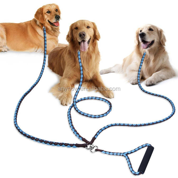 Dog Walking 3 Way Pet Leash with Sponge Handle