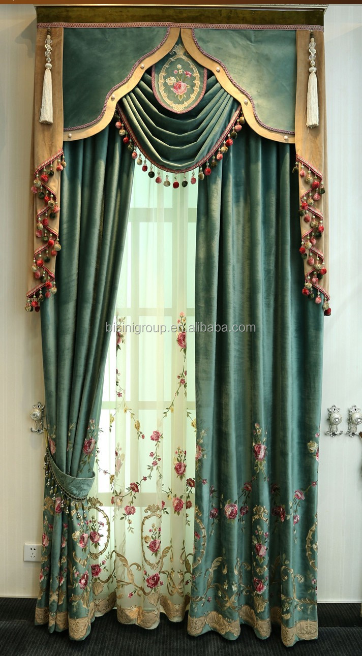 Interior Grandeur New Arrival French Suburban Style Floral Green Curtain and Valance BF11-10243d