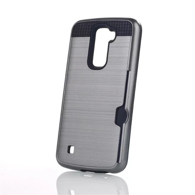 Shockproof Hybrid Brush Card Holder Case Cover For LG <strong>K10</strong>