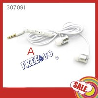 100pcs high quality stereo earphone with mic +volume controller free shpping